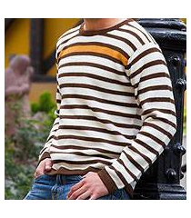 men's 100% alpaca sweater, 'andean sun' (peru)
