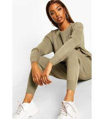 knitted sweater & jogger co-ord, khaki