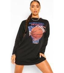 basketbal t-shirtjurk met lange mouwen, black
