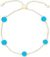 effy turquoise (6mm) bolo bracelet in 14k gold
