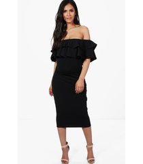maternity ruffle off the shoulder midi dress, black