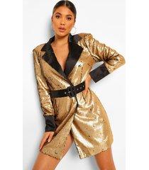 blazer jurk 2 tone met pailletten en ceintuur, black