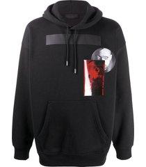 diesel black gold graphic-print rib-trimmed hoodie