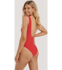 na-kd swimwear high leg swimsuit - red