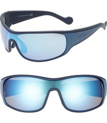 women's moncler 77mm wrap shield sunglasses - blue/ blue mirror