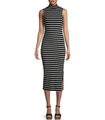 french connection women's tommy striped bodycon dress - black white - size xs