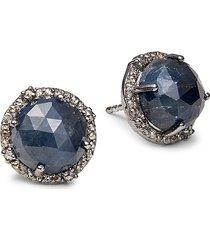 banji jewelry women's black rhodium-plated sterling silver, blue sapphire & diamond stud earrings
