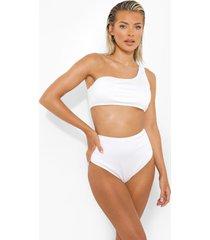 geribbeld bikini broekje met hoge taille, white