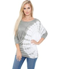 white mark women's banded dolman tie-dye top