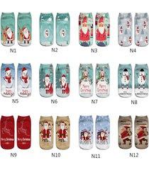 unisex christmas reindeer snowman santa claus cute 3d print short socks