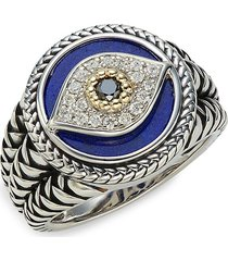 effy sterling silver & 18k yellow gold, lapis & black & white diamond signet ring - size 10