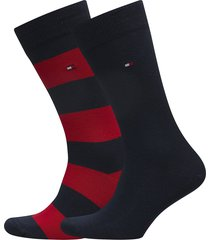 th men rugby sock 2p underwear socks regular socks multi/mönstrad tommy hilfiger