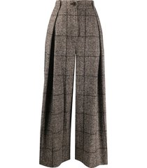 dolce & gabbana tweed check wide-leg trousers - brown