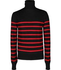 balmain black and red virgin wool