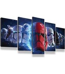 kit 5 quadros decorativos sala quarto 135x60 geek nerd filmes jogos