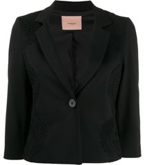 twin-set blazer cropped com renda - preto