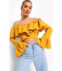 blouse met ruches en laag uitgesneden hals, chartreuse