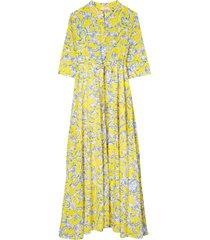 women's tory burch print cover-up maxi shirtdress, size medium - yellow