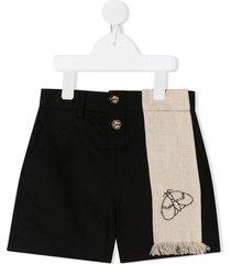 infantium victoria hemp sash embroidered shorts - black