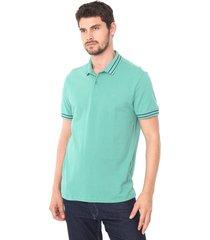 camisa polo forum reta frisos verde - verde - masculino - algodã£o - dafiti