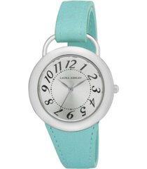 laura ashley ladies' blue band sunray dial sterrup case push pin closure watch