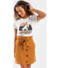 avah paperbag button mini skirt - tan