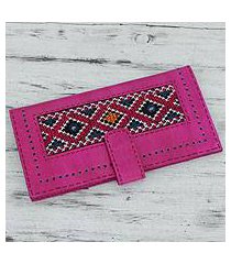 embroidered leather wallet, 'flamboyant fuchsia' (india)