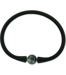 effy black cultured freshwater pearl (11mm) silicone rubber bracelet