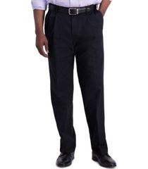 haggar men's premium classic-fit performance stretch non-iron pleated dress pants