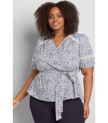 lane bryant women's printed crossover belted blouse 24p blue floral print