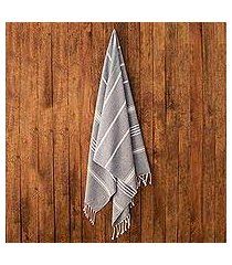 cotton beach towel, 'fresh relaxation in cadet blue' (guatemala)