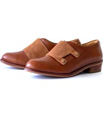 zapato cuero mujer monk caramel bestias