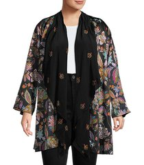 plus silk-lined open floral cardigan