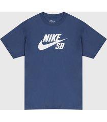 camiseta azul-blanco nike sb logo tee