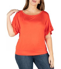 24seven comfort apparel women's plus size short sleeve loose fitting dolman top
