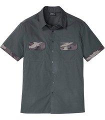camicia a maniche corte con dettagli camouflage slim fit (grigio) - rainbow