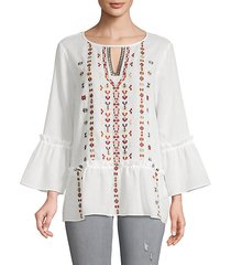 embroidered boho cotton top