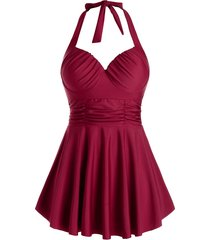 plus size halter ruched skirted tankini swimwear