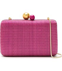 isla clutch ráfia natural bag - pink