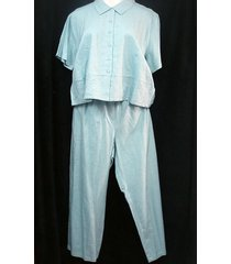 womens 2 piece short sleeve blue pant set xl 16 18 button front kathie lee colle