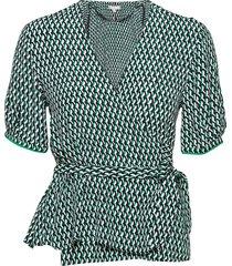 viscose wrap blouse ss blouses short-sleeved groen tommy hilfiger
