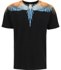 marcelo burlon wings blue neon print t-shirt