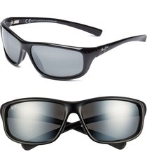 maui jim 'spartan reef - polarizedplus(r)2' 64mm sunglasses in gloss black/neutral grey at nordstrom