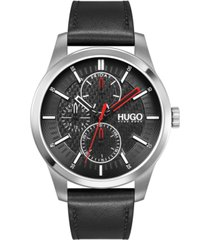 hugo men's #real black leather strap watch 46mm