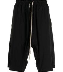 rick owens drop-crotch bermuda shorts - black