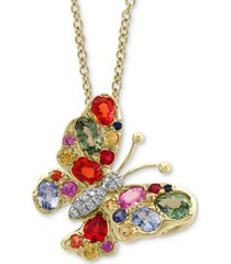 """effy multi-sapphire (2-1/4 ct.t.w.) & diamond accent 18"""" butterfly pendant necklace in 14k gold"""