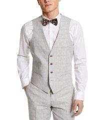 bar iii men's slim-fit gray plaid linen suit separate vest, created for macy's