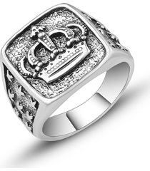 hombres vendimia anillo de corona con talla de fiesta de estilo punk