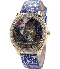 donna wholesale orologio da polso alla moda in pelle floreale con strass quarzo a motivo di gufo a regalo per signorina