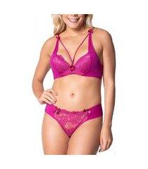 conjunto click chique lingerie strappy linha luxo em renda com tule e bijuteria rosa